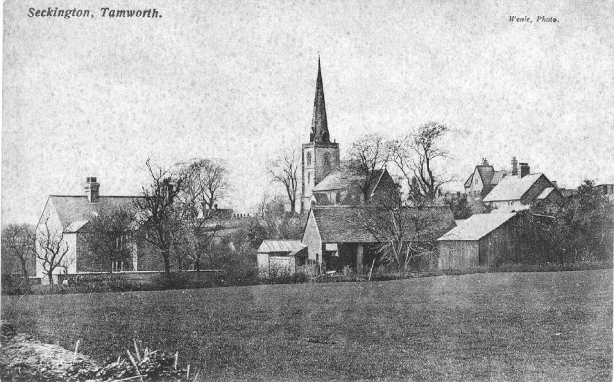 View of the village including parish church, Seckington.  1900s    IMAGE LOCATION: (Warwickshire County Record Office)