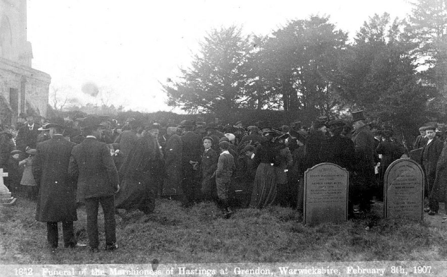 Gathering of mourners in the churchyard of All Saint's Church, Grendon, for the funeral of The Marchioness of Hastings.  February 8th 1907 |  IMAGE LOCATION: (Warwickshire County Record Office)