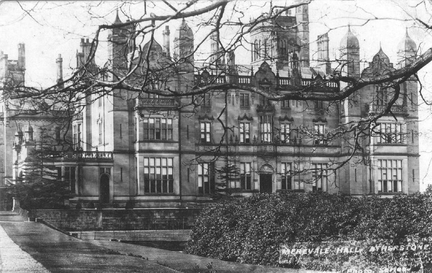 Exterior view of Merevale Hall, Atherstone.  1900s |  IMAGE LOCATION: (Warwickshire County Record Office)