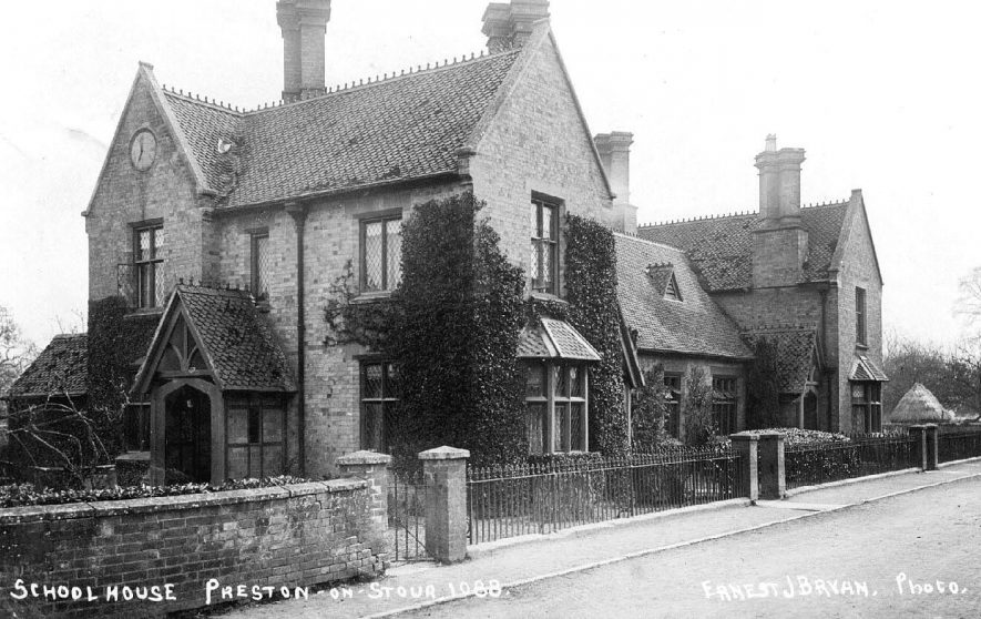 School house at Preston on Stour, with the clock on the eaves.  1900s |  IMAGE LOCATION: (Warwickshire County Record Office)