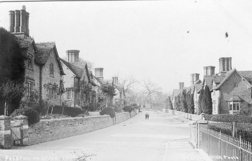 View of the village street, Preston on Stour.  1900s |  IMAGE LOCATION: (Warwickshire County Record Office)