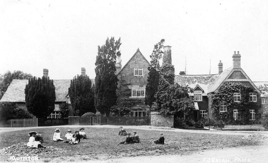 Large house by a green, Lower Quinton.  1900s |  IMAGE LOCATION: (Warwickshire County Record Office)