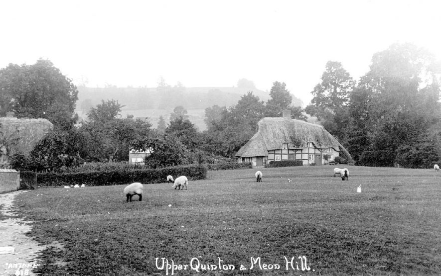 A cottage on Upper Quinton with Meon Hill in the distance.  1920s |  IMAGE LOCATION: (Warwickshire County Record Office)