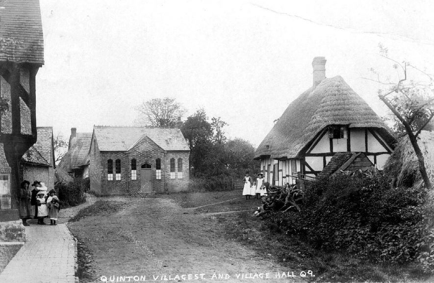 Street scene in Lower Quinton showing cottages and the village hall.  1900s |  IMAGE LOCATION: (Warwickshire County Record Office)