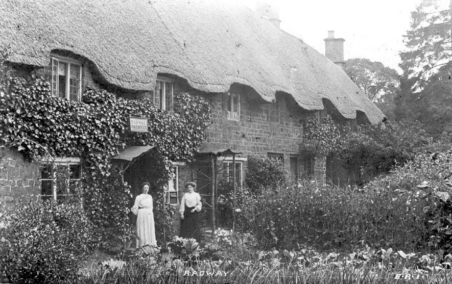 Two ladies standing in front of the post office, Radway.  1900s    IMAGE LOCATION: (Warwickshire County Record Office)