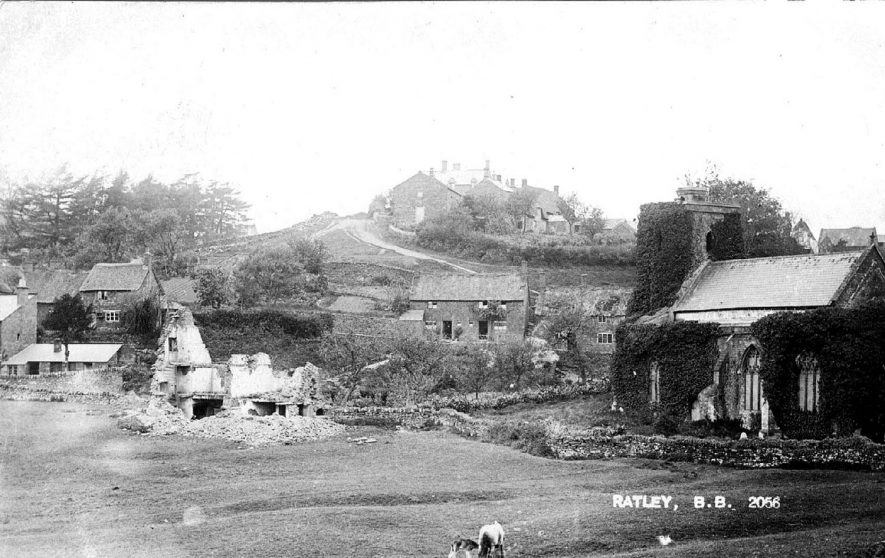 Overlooking the village with the creeper covered church on the right of the photograph.  1900s |  IMAGE LOCATION: (Warwickshire County Record Office)