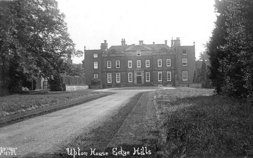 Front view of Upton House near Edgehill.  1920s    IMAGE LOCATION: (Warwickshire County Record Office)