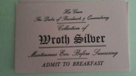 A ticket to a wroth silver breakfast, 2016. | Image courtesy of Benjamin Earl
