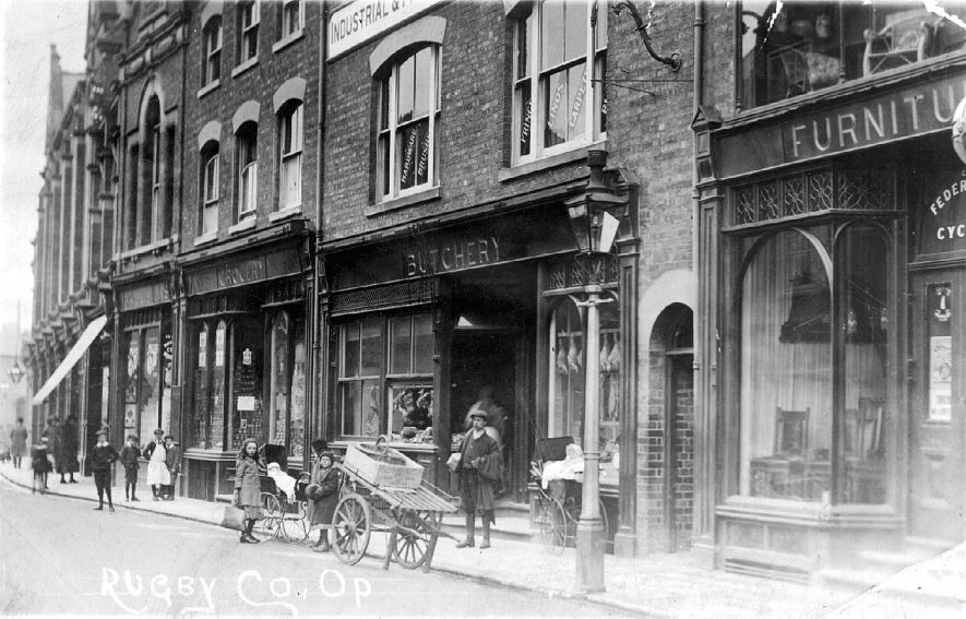 The Co-operative Society in Chapel Street Rugby.  1910s |  IMAGE LOCATION: (Warwickshire County Record Office)