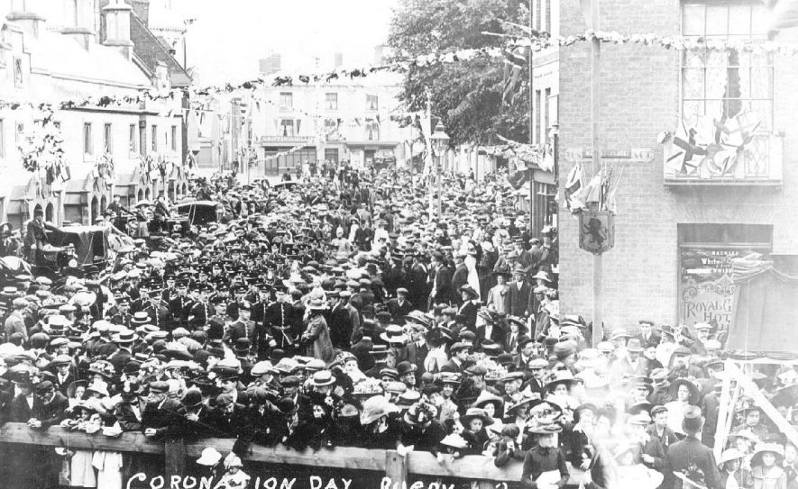 Crowds in the Market Place, Rugby, at the coronation of George V.  1911 |  IMAGE LOCATION: (Warwickshire County Record Office)