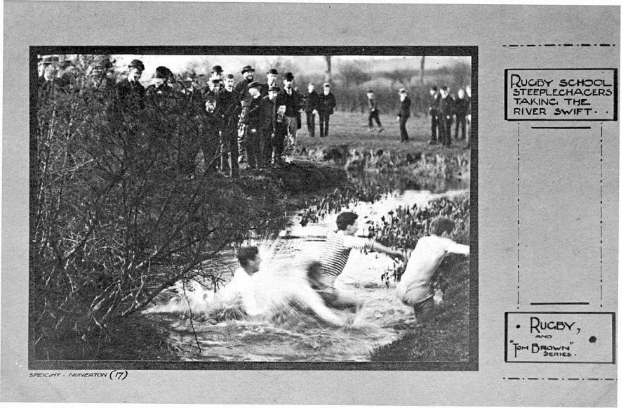 Rugby school steeplechasers taking the River Swift!  1900s |  IMAGE LOCATION: (Warwickshire County Record Office)