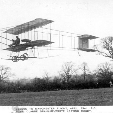 Rugby.  Bi-Plane leaving Rugby for Manchester