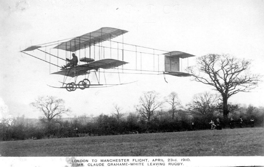 Mr Claude Grahame White leaving Rugby in his bi-plane en route to Manchester.  April 23rd 1910 |  IMAGE LOCATION: (Warwickshire County Record Office) PEOPLE IN PHOTO: White, Claude Grahame