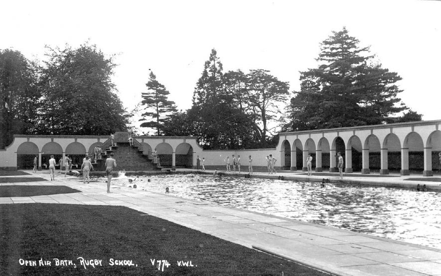 Open Air Bath, Rugby School, Dunchurch Road.  Boys swimming. Photo  ref: V774.  1920s   [This picture is taken off Horton Cresent, not Dunchurch Road.] |  IMAGE LOCATION: (Warwickshire County Record Office)