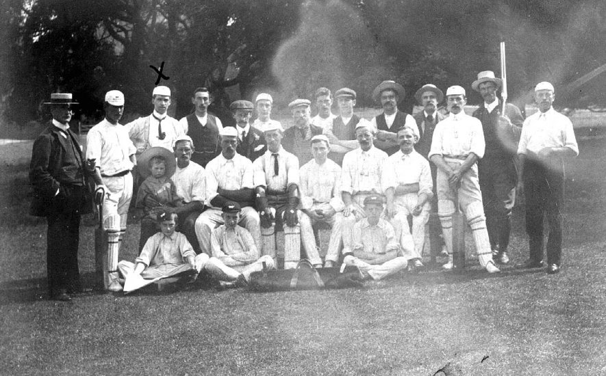 Unknown cricket team in Rugby?  postmark 1908. |  IMAGE LOCATION: (Warwickshire County Record Office)