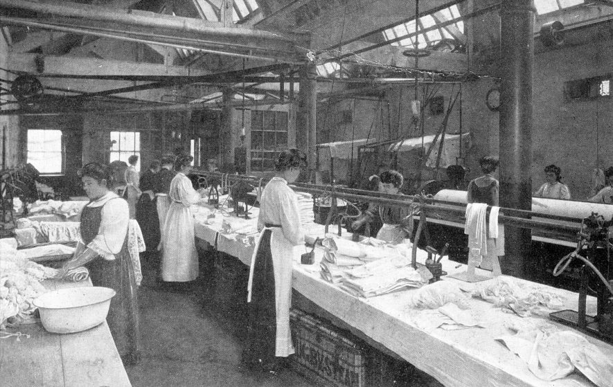 Rugby Steam Company.  Featuring ladies working with machinery. Postmarked 12 January 1945.  1910s |  IMAGE LOCATION: (Warwickshire County Record Office)