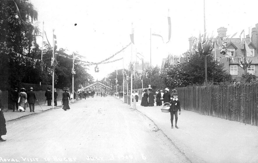 Royal visit to Rugby. Decorated street.  3 July 1909. |  IMAGE LOCATION: (Warwickshire County Record Office)