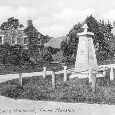 Priors Marston.  Hill View School and Monument