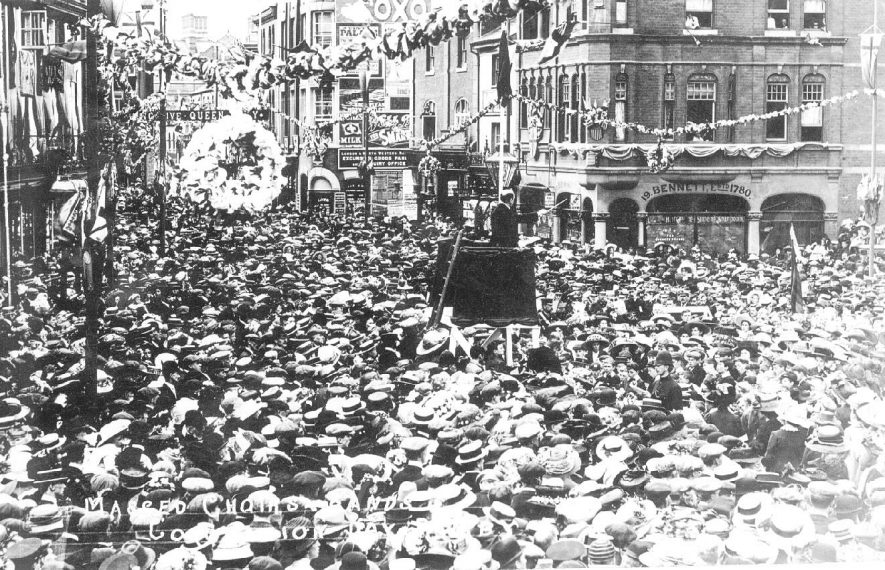 Street celebration of George V's coronation in Rugby.  1911 |  IMAGE LOCATION: (Warwickshire County Record Office)