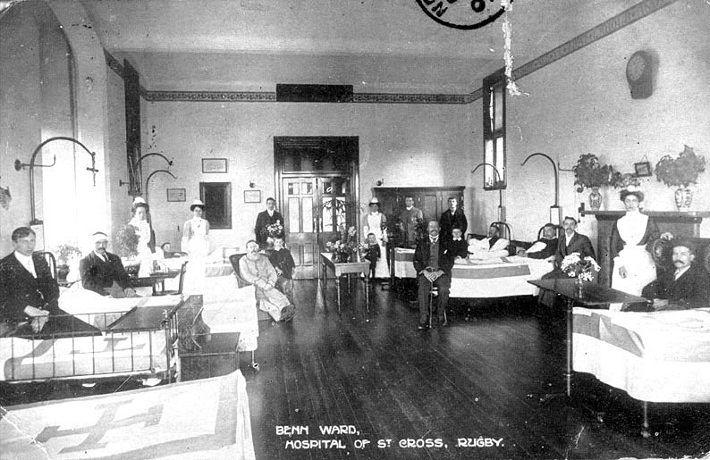 Interior of Benn Ward, St Cross Hospital, Rugby.  1900s |  IMAGE LOCATION: (Warwickshire County Record Office)