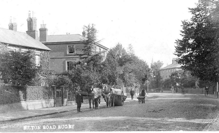 Bilton Road, Rugby, showing a horse drawn road roller.  1900s |  IMAGE LOCATION: (Warwickshire County Record Office)