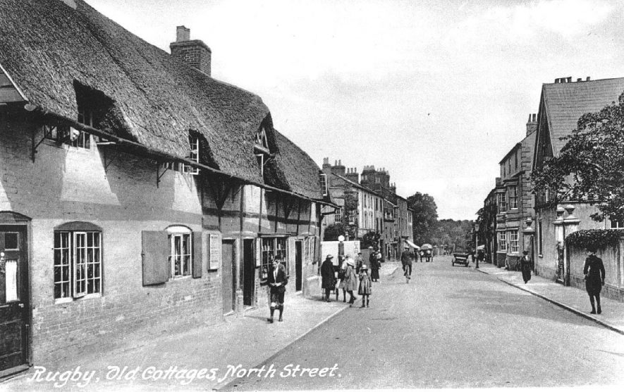 Old thatched cottages in North Street, Rugby.  1910s |  IMAGE LOCATION: (Warwickshire County Record Office)