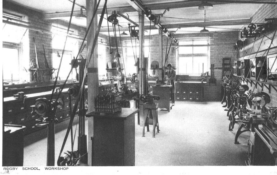 Rugby School.  Interior of workshop.  1910s |  IMAGE LOCATION: (Warwickshire County Record Office)