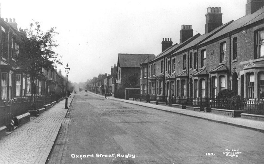 View of Oxford Street, Rugby.  1910s [Although the photograph has Oxford Street actually printed on its face it has been pointed out that it could be Cambridge Street which is the next street along] |  IMAGE LOCATION: (Warwickshire County Record Office)