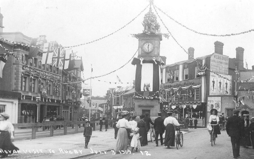 Rugby streets decorated for Royal Visit.  1909 |  IMAGE LOCATION: (Warwickshire County Record Office)