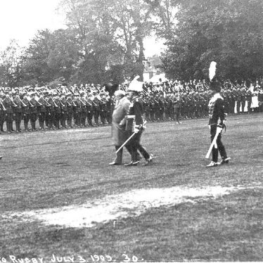 Rugby.  Military parade on royal visit