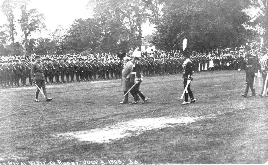 Military parade on the occasion of the royal visit to Rugby in 1909. |  IMAGE LOCATION: (Warwickshire County Record Office)