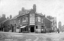 Corner of Albert Street and Regent Place, Rugby.  The