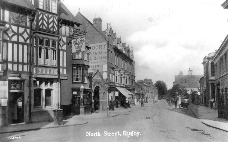 North Street, Rugby, showing shops and the Old Crown Inn.  1920s |  IMAGE LOCATION: (Warwickshire County Record Office)