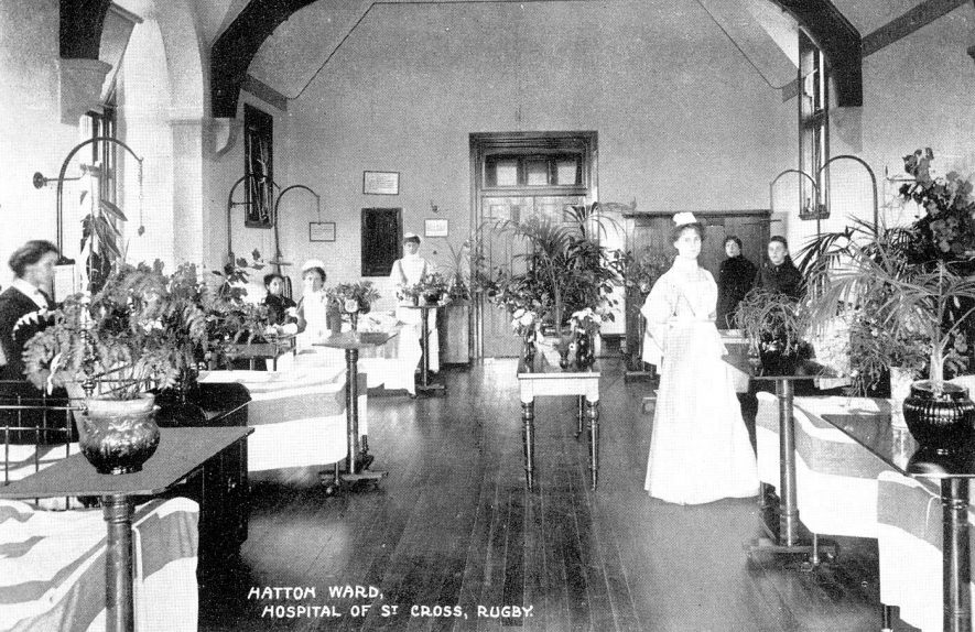 Interior of St Cross hospital, Hatton ward.  1900s |  IMAGE LOCATION: (Warwickshire County Record Office)
