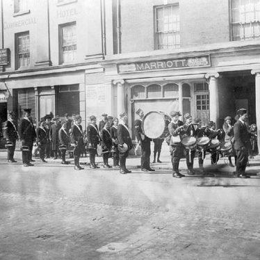 Rugby.  Market Place, Boys Brigade parade