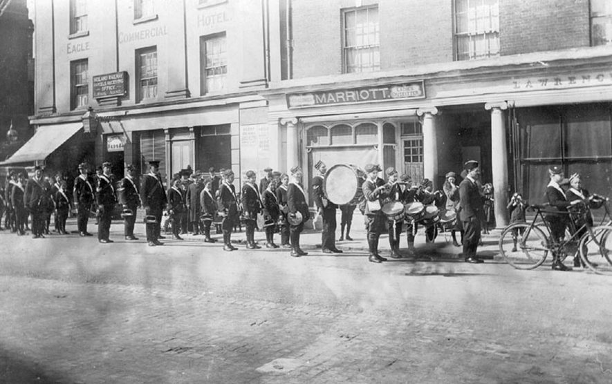 Boys Brigade parade, Rugby.  1916 |  IMAGE LOCATION: (Warwickshire County Record Office)