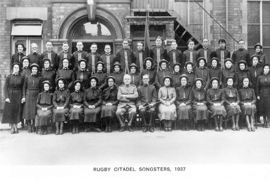 Rugby Salvation Army choir outside the Citadel.  1937 |  IMAGE LOCATION: (Warwickshire County Record Office)