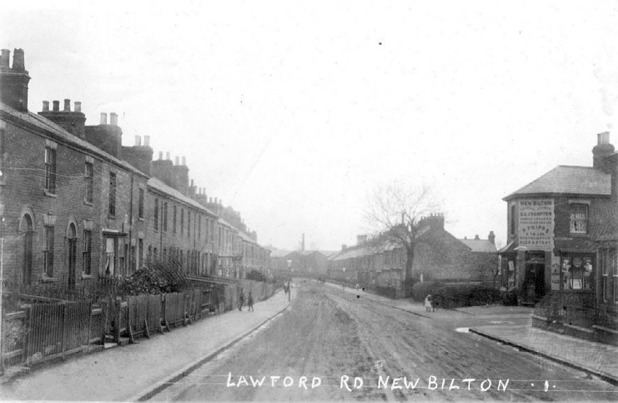 Lawford Road at New Bilton, Rugby. 1910s[Pinfold Street is on the right looking towards the railway. The houses on the left were demolished many years ago and are now part of the Lawford Road/ Addison Road junction] |  IMAGE LOCATION: (Warwickshire County Record Office)