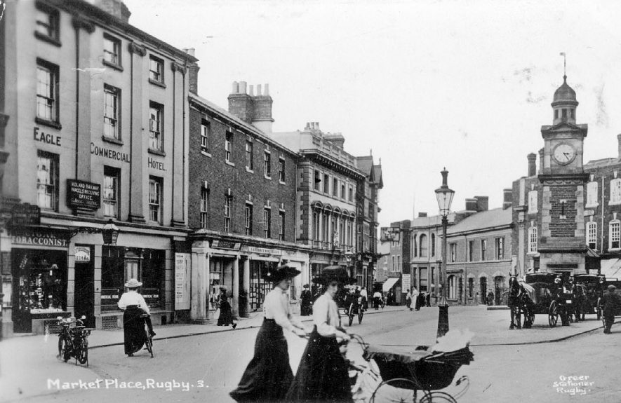 The Market Place, Rugby.  1910s |  IMAGE LOCATION: (Warwickshire County Record Office)