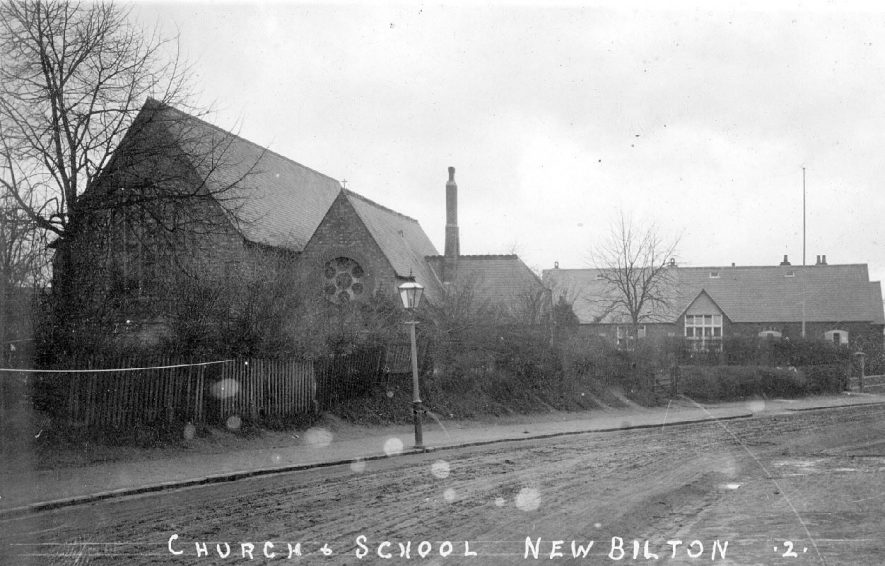 Church and school at New Bilton, Rugby.  1910 |  IMAGE LOCATION: (Warwickshire County Record Office)