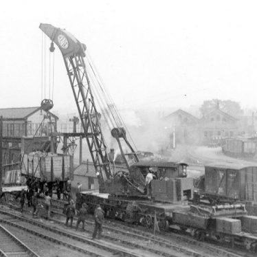 Rugby.  Railway Station, derailment