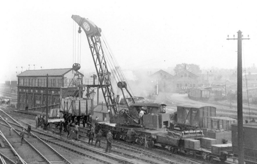 Clearing up after the derailment of a goods train near Rugby station.  1930s |  IMAGE LOCATION: (Warwickshire County Record Office)