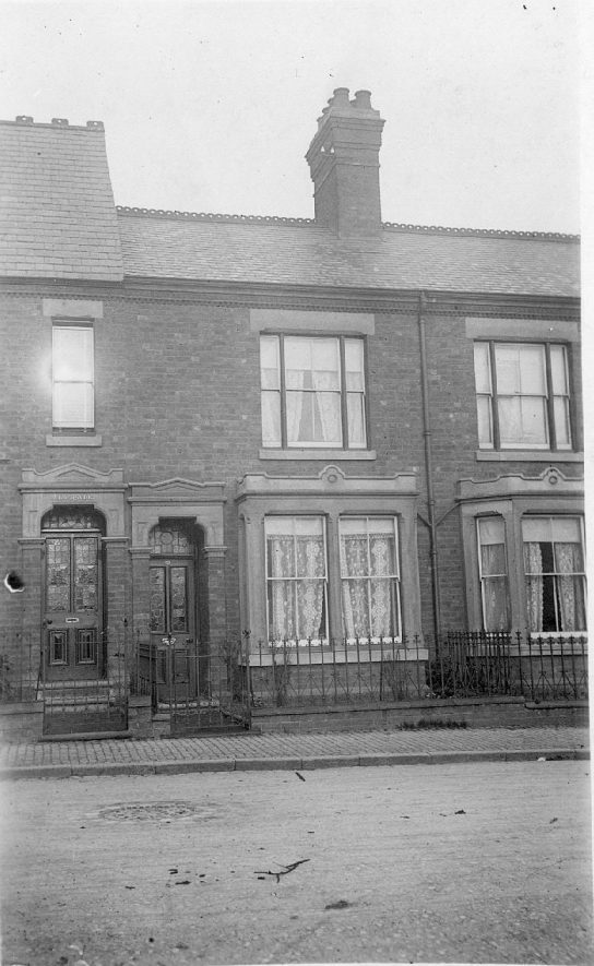 11 Grosvenor Road, Rugby in a row of terraced houses.  1900s |  IMAGE LOCATION: (Warwickshire County Record Office)