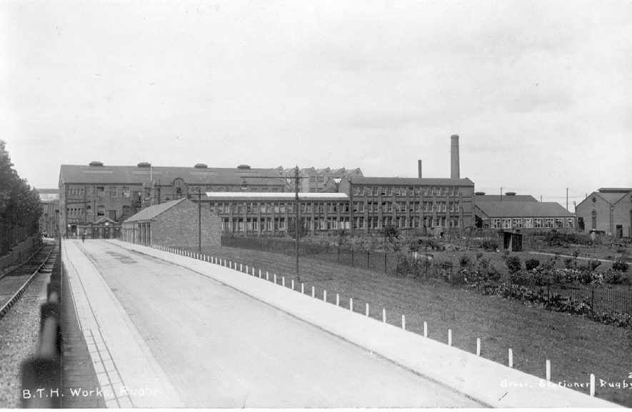 View of factory buildings at the B.T.H. electrical engineering works, Rugby.  Circa 1913. |  IMAGE LOCATION: (Warwickshire County Record Office) IMAGE DATE: (c.1913)