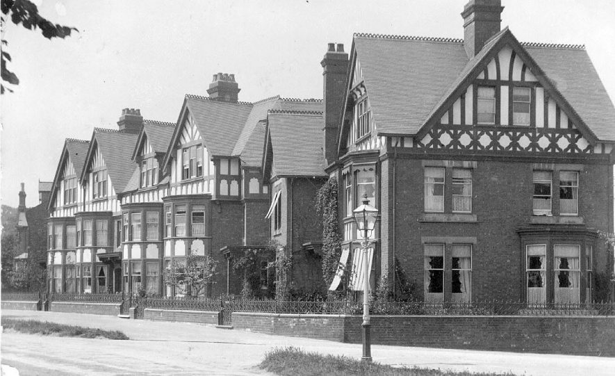 Large houses in Clifton Road, Rugby.  1900s |  IMAGE LOCATION: (Warwickshire County Record Office)