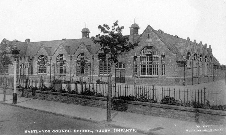 Exterior of Eastlands Infants Council School, Rugby.  1910s |  IMAGE LOCATION: (Warwickshire County Record Office)