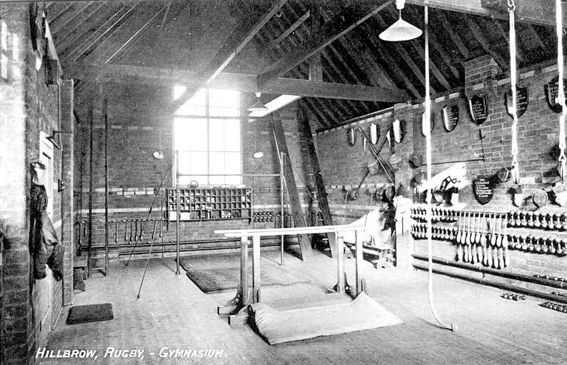 Interior view of the gymnasium at Hillbrow School, Rugby.  1917 |  IMAGE LOCATION: (Warwickshire County Record Office)