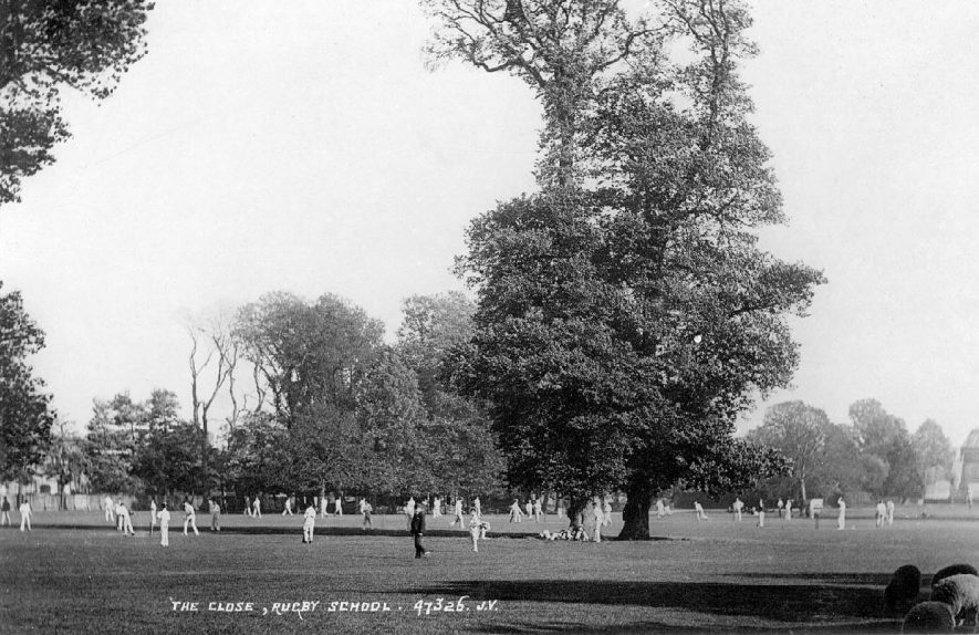 Cricket match in progress on The Close, Rugby School.  1900s |  IMAGE LOCATION: (Warwickshire County Record Office)