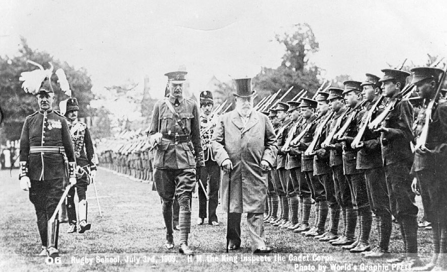 H.M. the King inspecting the Cadet Corps at Rugby School.  July 3rd 1909 |  IMAGE LOCATION: (Warwickshire County Record Office) PEOPLE IN PHOTO: Edward VII