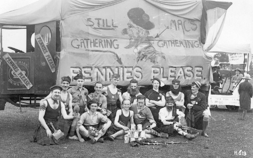 Group of people in fancy dress at the B.T.H. Hospital Rag, Rugby.  July 18th 1931 |  IMAGE LOCATION: (Warwickshire County Record Office)